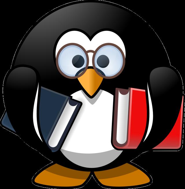 a cartoon penguin holding books