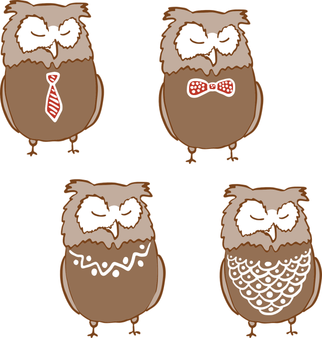 Cartoon owls wearing items of fancy clothing--two wearing ties and two wearing necklaces