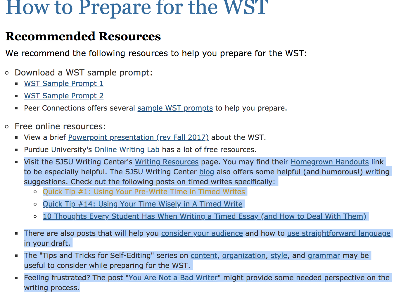 sjsu wst sample essay